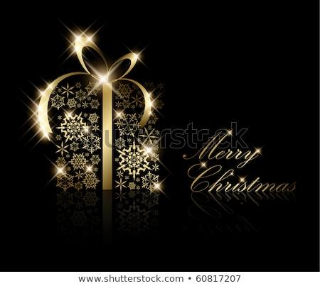 christmas · aanwezig · vak · gouden · sneeuwvlokken · zwarte - stockfoto © orson