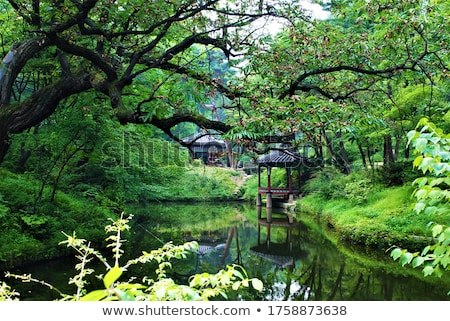 temple by lake and forest seoul south korea asia Stock photo © travelphotography