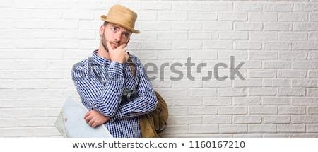 旅人 · 麦わら帽子 · 嘘 · リュックサック · ファッション · 頭 - ストックフォト © paha_l