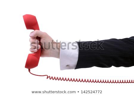 Hand ouderwets Rood telefoon hemel Stockfoto © AndreyKr