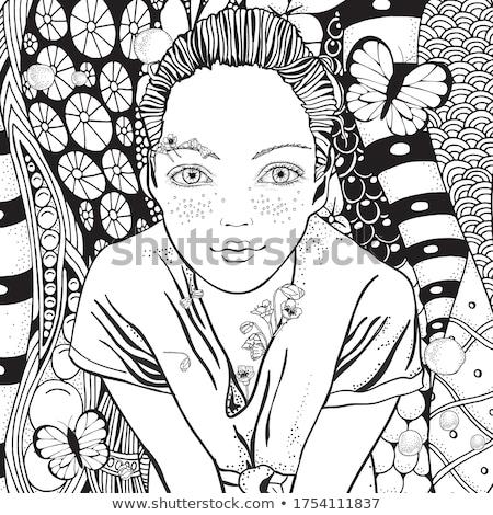 Meisje portret vlinder klein wild bewonderen Stockfoto © wildman