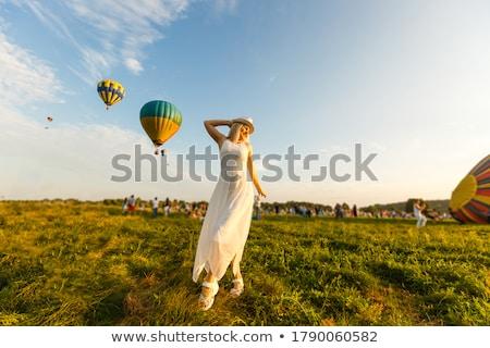 Kadın renkli balonlar alan doğa Stok fotoğraf © pekour