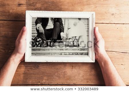 Stockfoto: Fotolijstje · vrouw · geïsoleerd · witte · papier