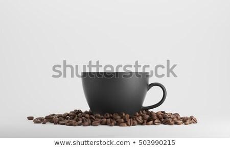beker · koffie · bonen · boven · zwarte · koffie - stockfoto © elinamanninen