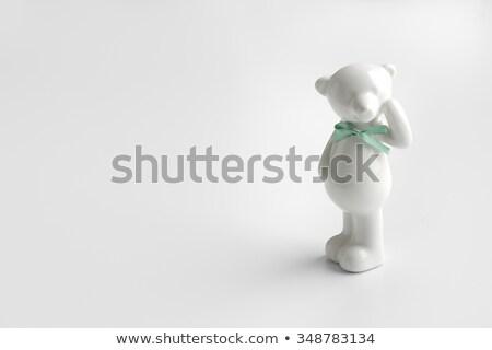 Beyaz seramik ayı yalıtılmış taç hayvan Stok fotoğraf © doupix