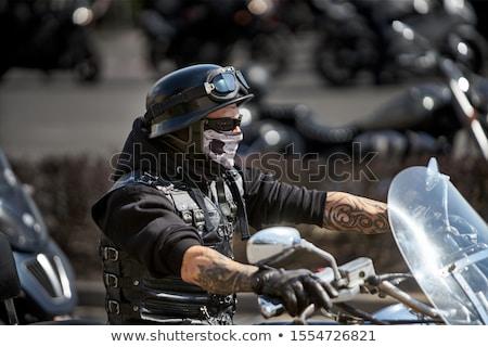 silueta · puesta · de · sol · deportes · moto · viaje - foto stock © adrenalina