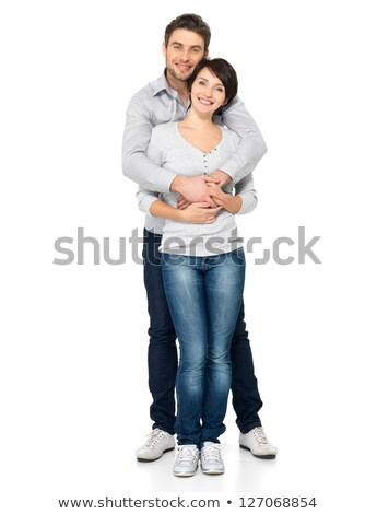 attrattivo · Coppia · isolato · bianco · amore - foto d'archivio © stepstock