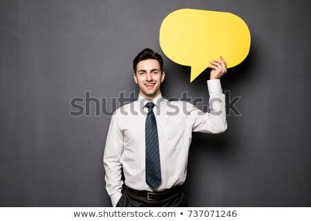 férfi · mutat · felirat · szövegbuborék · tart · sikít - stock fotó © ra2studio