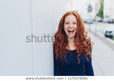 魅力的な · 赤毛 · 若い女性 · ブランクカード - ストックフォト © hsfelix