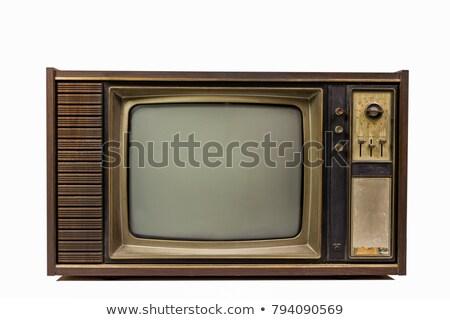 elöl · 1960-as · évek · öreg · televízió · fehér · fa - stock fotó © ozaiachin
