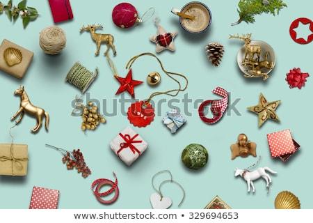 Zielone tag christmas dekoracje biały liści Zdjęcia stock © wavebreak_media