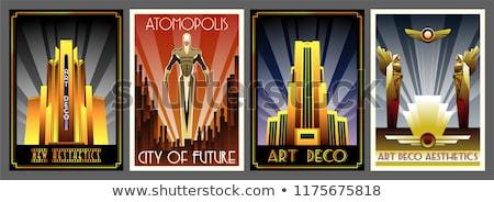 Città retro manifesti stilizzato poster senza soluzione di continuità Foto d'archivio © tracer