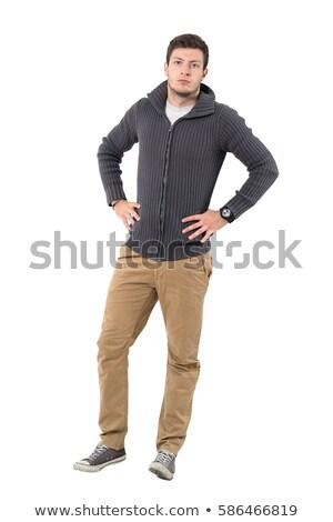 Chandail pants isolé blanche mode noir Photo stock © ozaiachin