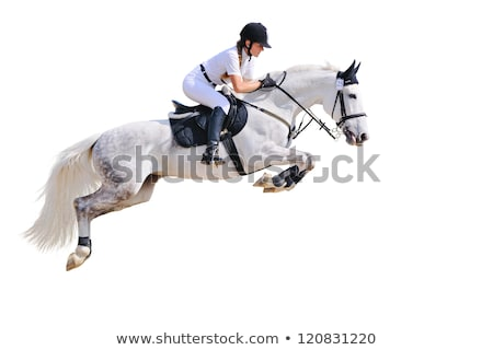 Stock photo: Young woman show jumping with horse