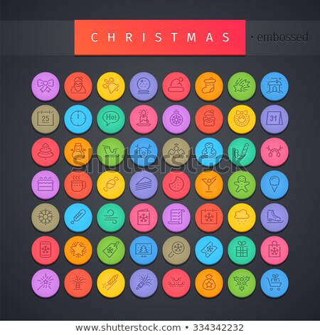 karácsonyfa · ajándék · ikon · szett · vektor · karácsony · fa - stock fotó © voysla