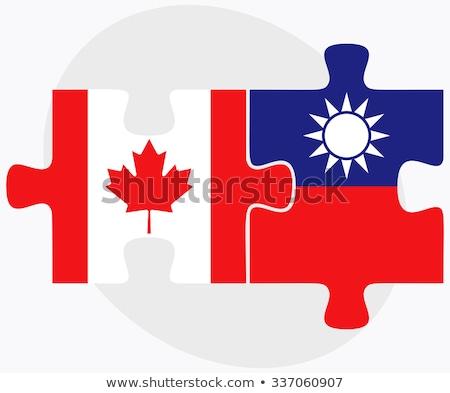Kanada Tayvan bayraklar bilmece yalıtılmış beyaz Stok fotoğraf © Istanbul2009