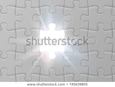 Folyamat kirakós játék hiányzó darabok fényes zöld Stock fotó © tashatuvango