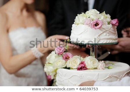 花嫁 ウェディングケーキ 小さな 美人 座って 後ろ ストックフォト © svetography
