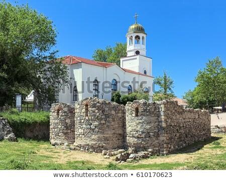 Harang torony Bulgária kék kő istentisztelet Stock fotó © frescomovie
