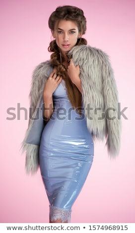 csinos · nő · visel · vörös · ruha · fehér · szépség · fekete - stock fotó © stryjek