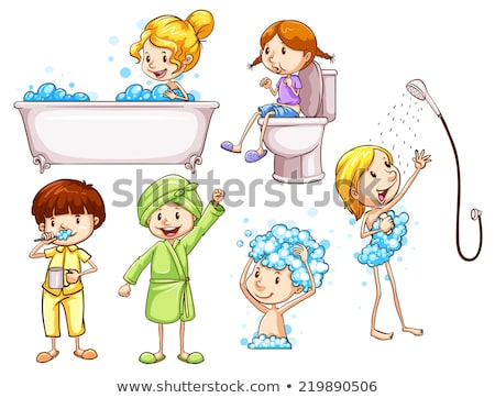 sketch of a girl taking shower stock photo © bluering