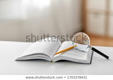 Könyv üveg zöld zárva szemüveg fehér Stock fotó © justinb