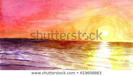 ярко · желтый · оранжевый · волны · темно · Гранж - Сток-фото © blackmoon979