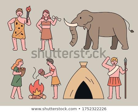 primitive man and mammoth Stock photo © adrenalina