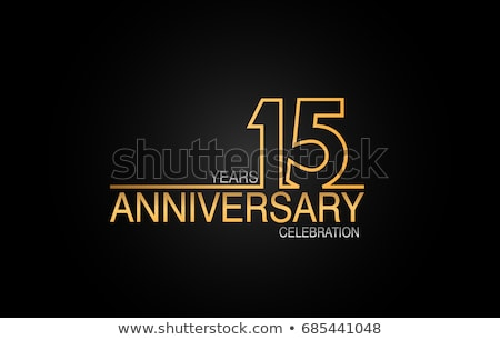 15th anniversary celebration badge label in golden color Stock photo © SArts