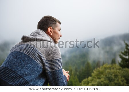 uomo · foresta · nebbia · silhouette · misterioso · albero - foto d'archivio © stevanovicigor