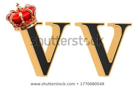 Gemstones alphabet, letter V. Isolated on white background. Stock photo © pashabo