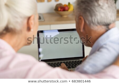 Back view photo of mature loving couple family using laptop Stock photo © deandrobot