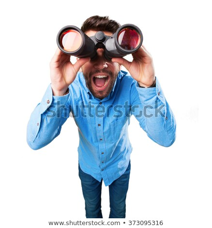 young man with binoculars isolated on white stock photo © elnur
