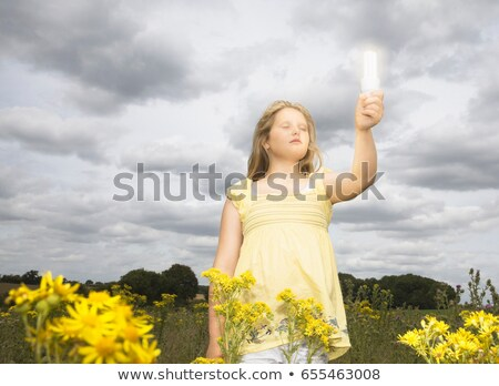 Girl with energy saver bulb in field Stock photo © IS2