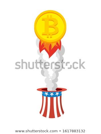 Bitcoin rakéta ki kalap nagybácsi növekedés Stock fotó © popaukropa