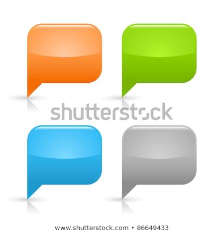 orange and blue square blank speech bubbles 3d stock photo © djmilic