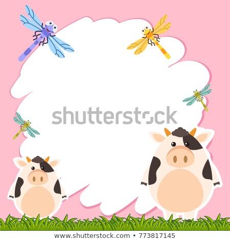 Fronteira modelo vacas ilustração grama natureza Foto stock © bluering