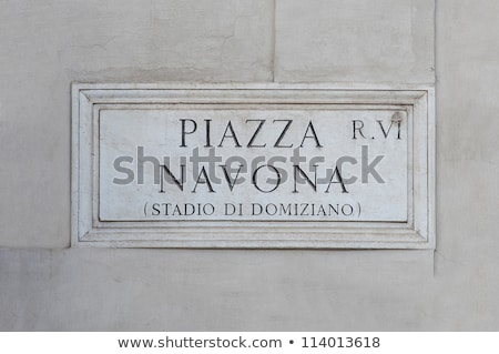 piazza navona street sign in rome stock photo © boggy