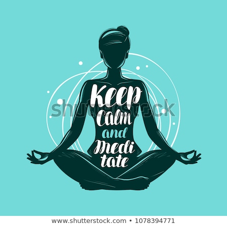 Stock photo: Woman meditating in lotus pose vector illustration