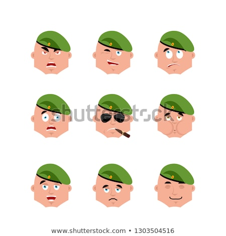 Russia set emoji avatar. sad and angry face. guilty and sleeping Stock photo © popaukropa