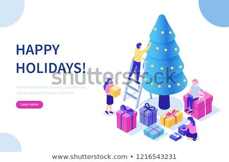 año · nuevo · caja · de · regalo · aislado · blanco · 3d - foto stock © iserg
