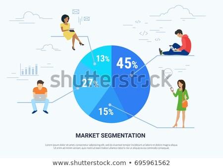 Market segmentation vector illustration of people sitting on round percentage diagram. Flat people w Stock photo © makyzz