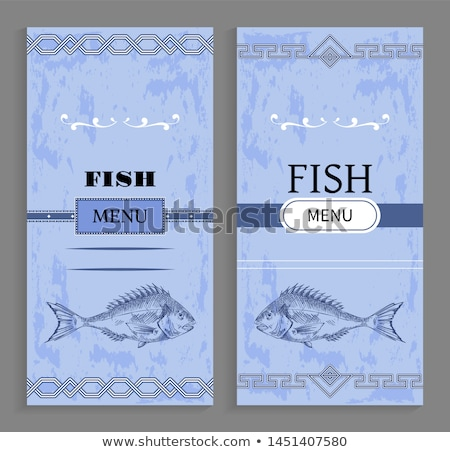 Template of Fish Menu Cover with Fishery Icon Stock photo © robuart