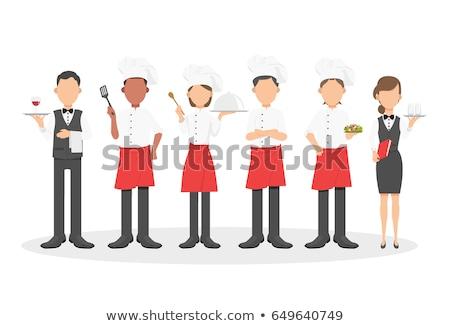 Garçon serveuse icônes personnes verre de vin Photo stock © robuart