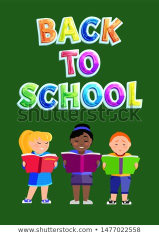 Multinational Children Reading Textbooks Poster Stock photo © robuart