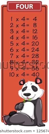 Quatro tabela panda ilustração criança arte Foto stock © bluering