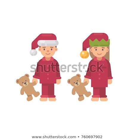 iki · çocuklar · Noel · kırmızı · pijama - stok fotoğraf © IvanDubovik