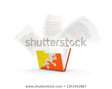 Foto stock: Dobrador · bandeira · Butão · arquivos · isolado · branco