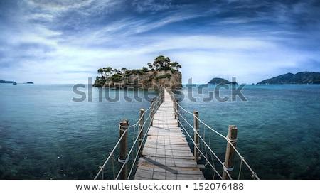 Jelenet fából készült híd szirt illusztráció tavasz Stock fotó © colematt