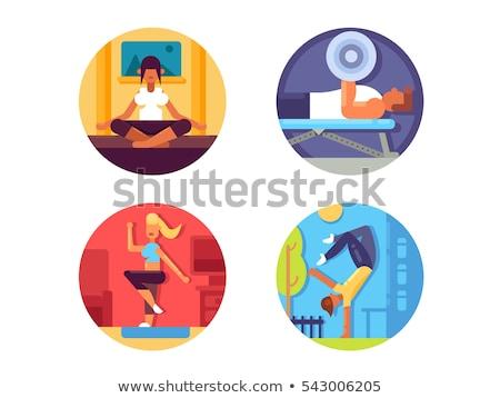 yoga practice   flat design style colorful illustration stock photo © decorwithme